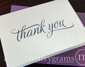 Bridal Shower Thank You Cards - Wedding or Any Occasion - Fancy, Shimmer Stock, Purple Envelopes (50 Count)