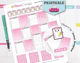 Etsy Shop Stickers,  Kawaii Printable Planner Stickers,  Pink Etsy Orders Tracking, Processing Etsy Orders, Erin Condren, K029