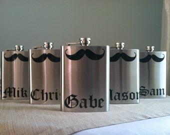 10 Personalized Groomsmen Mustache Stainless Steel 8 oz. Flasks