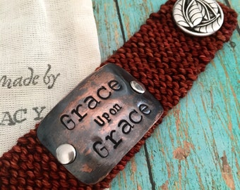 Copper Stamped Cuff Bracelet, Bible Verse Bracelet, Inspirational Jewelry, Personalized Bracelet, Christian Gift for Women