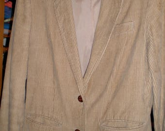 Vintage 1970s Beige Corduroy Fully Lined Blazer Size Womens 11/12 Favorites