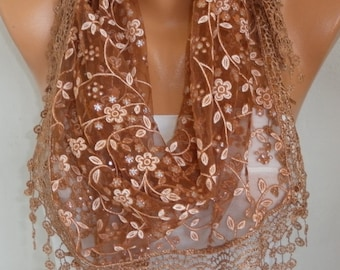 Brown Lace Scarf,Wedding Shawl,Cowl,Bridesmaid Gift, Bridal Accessories, Gift Ideas For Her Women Fashion Accessories, Birthday gift