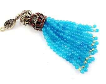 Large Long Blue Curacao Jade Stone Beaded Tassel with Crystal Accents - Antique Bronze - 1PC
