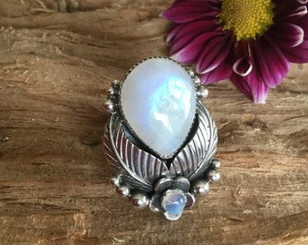 Rainbow Moonstone ring, Sterling Silver, Moonshadow Collection, Artisan Handmade, Southwestern,  Bohochic, size 9 1/4