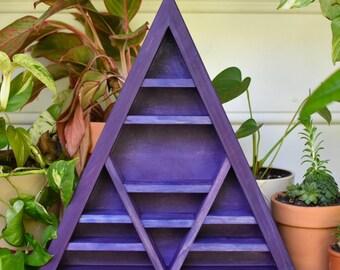 Backed Purple Metallic Pearl Crystal Charging Triangle Display Shelf