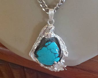 Turquoise sterling silver pendant with sterling silver chain