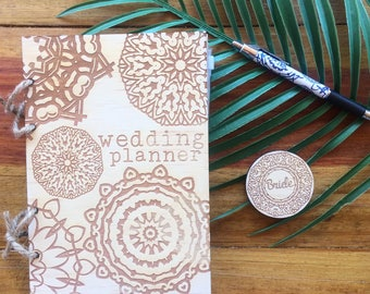 Wedding planner, wedding diary. Rustic timber planner with j digo mandala design