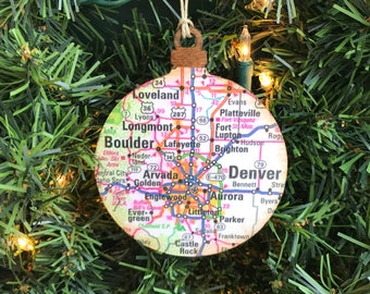 Personalized Denver Ornament, Personalized Denver Vacation Ornament, Denver Map Ornament, Personalized Denver Colorado Ornament, Boulder CO