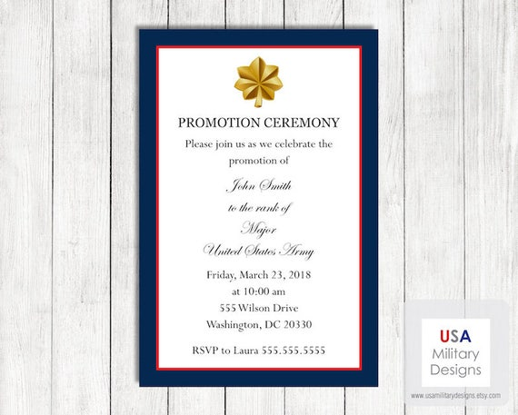 Army Promotion Ceremony Invitation Printable Army Promotion