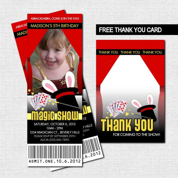 MAGIC SHOW TICKET Invitations Bonus Thank You Card print
