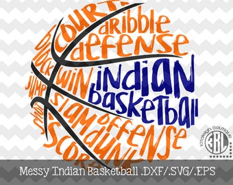 Messy Indian Basketball design INSTANT DOWNLOAD in dxf/svg/eps for use with programs such as Silhouette Studio and Cricut Design Space