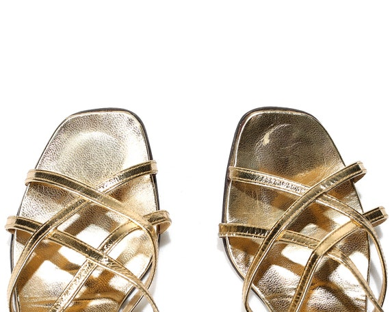 UK Disco Shoes EUR Vintage Heels Strappy US Wedding Retro 4 women Sandals Crisscross 70s 6 Gold Metallic 37 5 Glam Party Dancing Leather SwHq1CFP