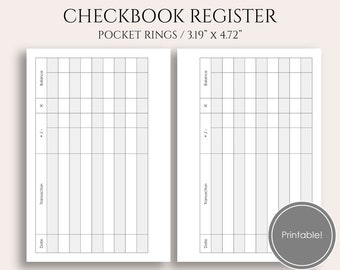 "Check Register Printable Planner Inserts, Budgeting and Finance Tracker, Checkbook Register ~ Pocket Rings / 3.2"" x 4.7"" PDF Download"