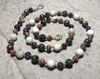 """22"""" Don't Panic; Don't Forget Your Towel //  Anxiety // Panic Attacks // Adult Gemstone Beaded Necklace // Hand Knotted"""
