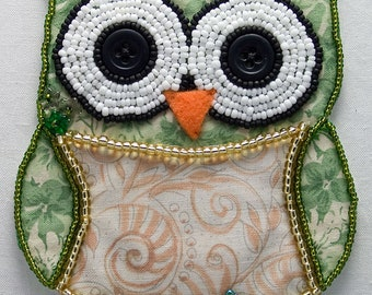Bead Embroidered Owl, Green, Cute Bird, Beaded, Made to Order