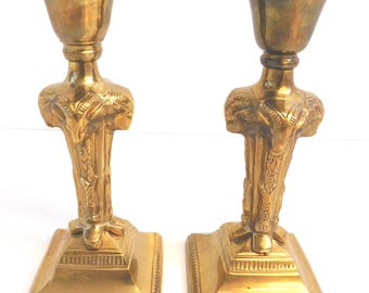 Pair of RAMS HEAD Brass Candle Sticks