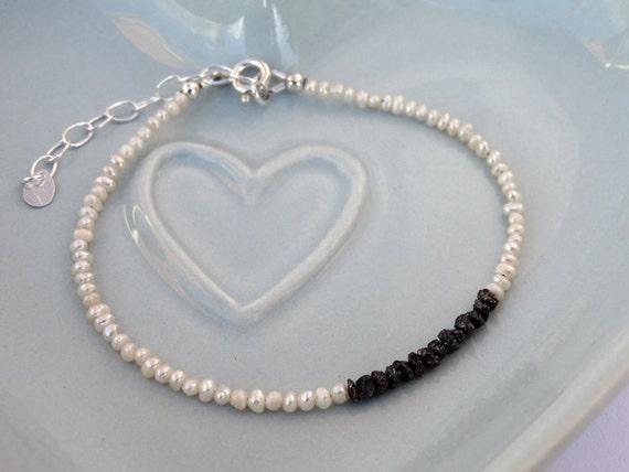 Raw Black Diamond, Pearl & Silver Bracelet - Sterling Silver