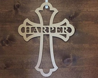 "12"" Wood Cross Custom Fancy Shape Last Name Laser Cutout Unfinished"