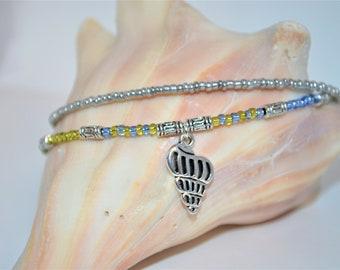 Ankle Bracelet Shell Charm, 3 Strand Shell Anklet, Blue & Green Beaded Anklet, Shell Anklet
