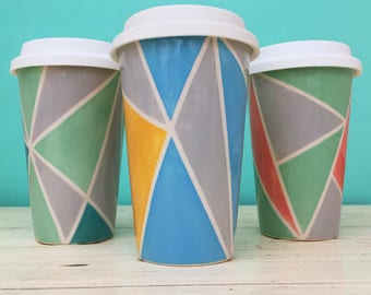 Ceramic Geometric Travel Mug