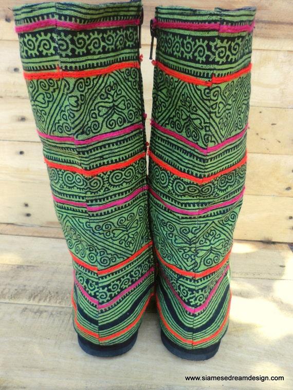 Batik Up Boots Combat Britta Green Lace Womens Mid Boots Calf Ethnic Hmong v8xwaIR
