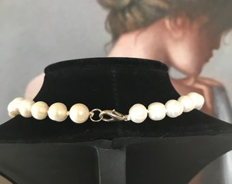 """Freshwater Pearl Necklace, Classic Pearl Necklace, Wedding Pearls, Real Pearl Necklace, Bridesmaid Necklace, Vintage Pearl Necklace 18.5"""""""