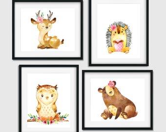 Owl Nursery Decor, Animal Nursery Art, Woodland Nursery Decor, Wildlife Nursery, Nursery Animals, Deer Nursery Decor, Girl Woodland Nursery
