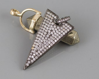 Long Triangle CZ Pave Pendant Gun Metal and Gold