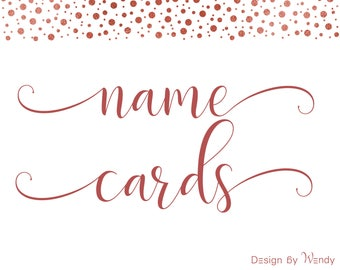 Name cards, place cards - single name cards