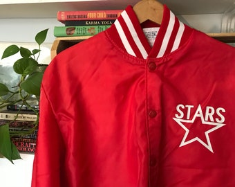 Vintage Satin Jacket Large Mens Womens / Baseball Coach Jacket / Bomber Coat / Stars / Red White / Birdie / Spring / 70s 1970s Seventies /