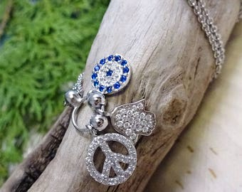 Peace & Good Fortune' Hamsa Crystal Charm .925 Silver Necklace