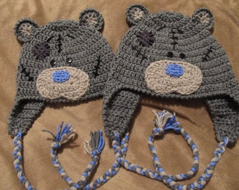 Crochet Gray Bear Blue Nose (Tattered Teddy) Hat with Ear Flaps and Ties - Baby to Adult Sizes - Made to Order