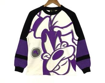 Rare!!GOOFY Walt Disney Cartoon Character All Over Printed Big Logo Goofy Sweatshirt Size Medium