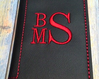 Custom 3 Letter MonogramBusiness Card, Credit Card ID Holder - Marine Vinyl