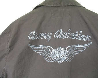 Army Aviation Shirt Hand-painted with Aviation Crew Wings Medium