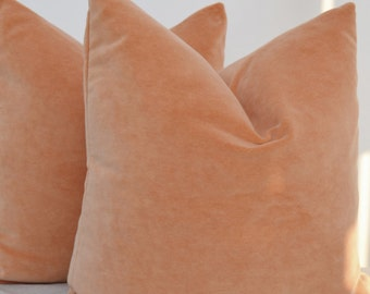 RESERVED Salmon  Velvet Pillow Cover,  Peach  Pillow Cover ,Peach Velvet Pillow Cover