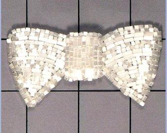Bow Applique White Satin Beaded (FS325-whst)