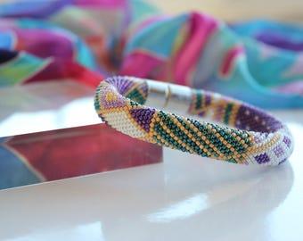 Indian summer beads crochet bracelet - Bead crochet jewellery - Patchwork pattern jewellery -Handmade Bracelet -Mother's day-Seed beads rope