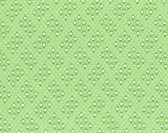 Retro 30's Child Smile Small Geo Flowers fabric in Green from Lecien #31441-60 Fall 2016