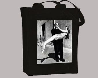 Vintage Hollywood Frankenstein and Mermaid  BLACK or NATURAL Canvas Tote - Selection of  sizes available