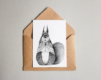 Squirrel print A6 wall art, black and white, linework, interior wall art, nature print