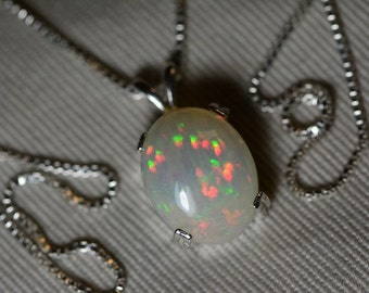 Opal Necklace, 4.11 Carat Solid Opal Pendant Appraised at 1200.00, Sterling Silver, Spectacular Green Orange Pinfire Pattern