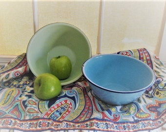 Enamelware Mixing Bowl TWO Blue and Green VINTAGE Enamelware Bowls  -2-  Vintage Enamelware Bowls Light Green and Robin's Egg Blue