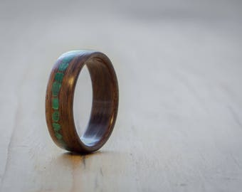 Rosewood with Malachite inlay bentwood ring, Women's wood ring, Wood wedding ring, Engagement ring, Handmade wood ring, Wooden ring