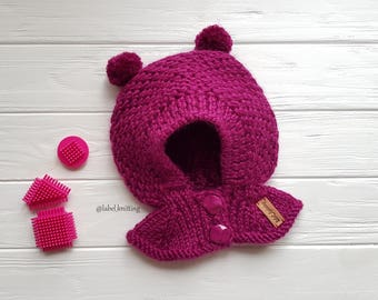 Toddler Girl hat Pom Pom Hat Baby knit hat Double Pom Pom Woolen baby hat Сomfortable hats