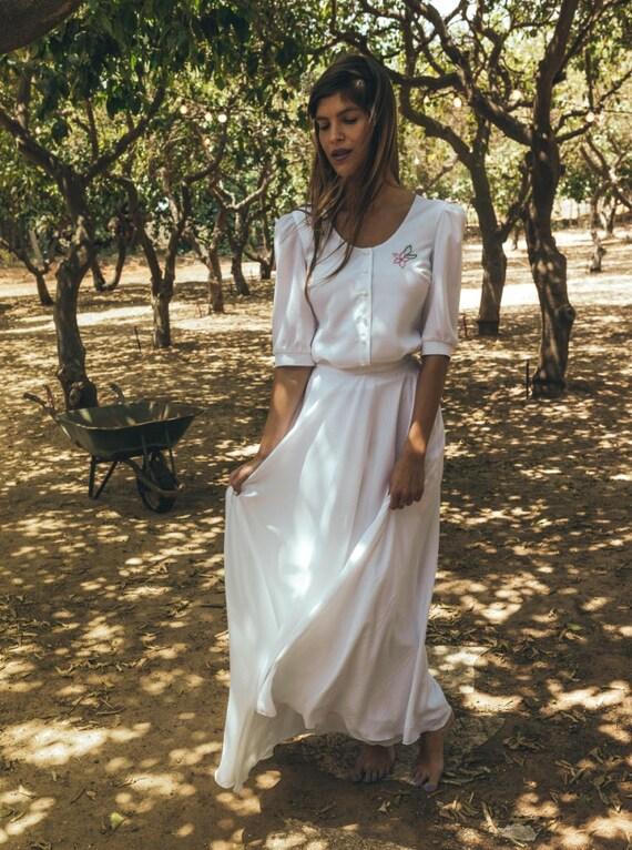 2 Teile die Hochzeit Kleid Boho Brautkleid Kamelie Blüte