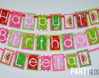 Watermelon Birthday Party Banner Decorations Fully Assembled