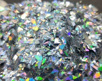 Silver Holographic Flakes Solvent Resistant Large Flakies Shaped Chrome Glitter Shreds