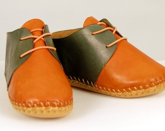 Baby shoes, Orange-blue shoes, Baby Moccasins, Leather Moccasins, Bow Moccasins, Newborn gift, Soft Soled edible dye handmade.
