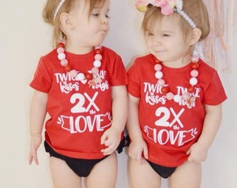 2x Love-Twin Valentine's Day Shirt, Vday shirt for twins, double the love, Valentine's day, holiday shirts for twins, Mama of two, toddlers.